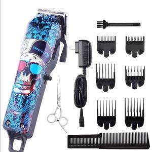 Skull Hair Clippers Blue Wireless Set Kit